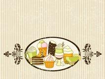Vector Lebensmittelhintergrund mit Bonbons, Eiscreme, Kuchen und Kaffee Lizenzfreie Stockbilder
