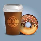Vector Lebensmittelillustration der Kaffeetasse und des Donuts mit Schokoladenbonboncreme Lizenzfreie Stockbilder