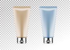 Vector leeres Silber und rosa und blaues Paket für kosmetisches Produktrohr für Lotion, Duschgel, Shampoo, Creme vektor abbildung
