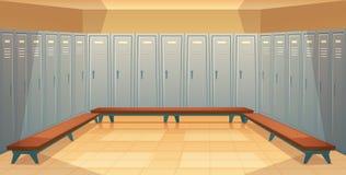 Vector lege kleedkamer met gesloten kasten stock illustratie