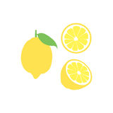 Vector lemon fruit icon set. Isolated on white. A lemon illustrations set with three different versions. One with a whole lemon, other with a lemon cut open into Stock Photos
