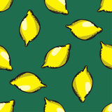 Vector lemon seamless pattern. Modern texture. Repeating endless abstract hand drawn background.  Royalty Free Stock Images
