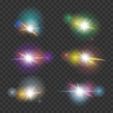 Vector Lens Flare effect Set Stock Images