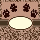 Vector leopard  background with paws Stock Photo