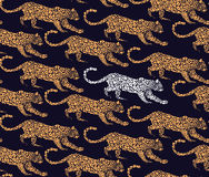 Vector leopard seamless pattern with graphic elements for printing on fabric Stock Image