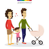 Vector lesbian couple love concept. Family of two women, daughter and baby in the cradle. Stock Photo