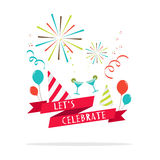 Vector : Let's celebrate banner with party icon.  vector illustration