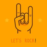 Vector let's rock banner in outline style Stock Images