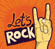 Vector let's rock poster Stock Images