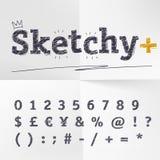 Vector letras, números, o cueency e símbolos tirados mão do esboço ilustração do vetor