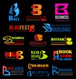 Vector letter B, company or brand identity. Letter B, brand identity or company corporate design. Vector B of Bali travel, boutique or business and botanic royalty free illustration