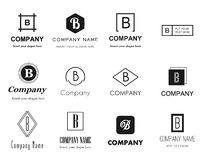 Vector letter B (bee) logos icons. Vector set of flat style monochromatic letter B (bee) logos - elegant, modern and simple logo collection. Editable eps file Stock Photography