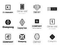 Vector letter Q (cue) logos icons Royalty Free Stock Image