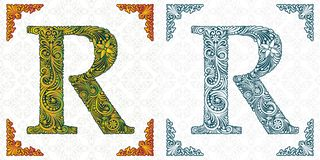 Vector letter R. Patterned font. Monogram. Unique ornamental alphabet. Spring leaf pattern. Handmade. royalty free illustration