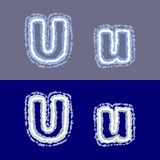 Vector letter U on grey and blue background royalty free stock photos