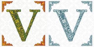 Vector letter V. Patterned font. Monogram. Unique ornamental alphabet. Spring leaf pattern. Handmade. stock illustration