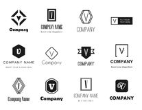 Vector letter V (vee) logos icons Stock Photography