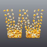 Vector letter W made of coins filling character. Stock Photo