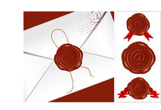 Vector. Letter with wax seal. Set of different wax