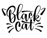 Vector lettering Black cat with cute cat whiskers Royalty Free Stock Photo