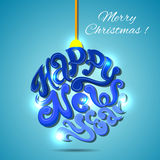 Vector lettering christmas ball toy. Great design Royalty Free Stock Photos