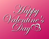 Vector lettering design for Valentines Day greeting card on pink background stock photography