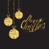 Vector lettering element Merry Christmas design banner decorated sparkle golden Christmas balls vector illustration