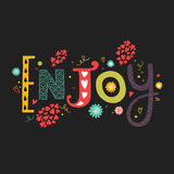 Vector lettering Enjoy with decorative flower. Elements on black background, hand drawn letters for greeting card, invitation and web design Stock Photography