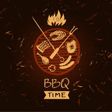 Vector lettering hand drawn logo with fire for barbecue party. Illustration with sparks of fire for BBQ time.  Print restaurant menu, posters, banner Royalty Free Stock Photography