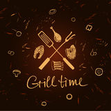 Vector lettering hand drawn logo with fire for barbecue party. Illustration with sparks of fire for grill time party.  Print restaurant menu, posters, banner Royalty Free Stock Photos