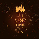 Vector lettering hand drawn logo with fire for barbecue party. Stock Photography