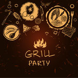 Vector lettering hand drawn logo with fire for barbecue party. Stock Image