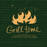 Vector lettering hand drawn logo with fire for barbecue party. Illustration with sparks of fire for grill time.  Print restaurant menu, posters, banner Royalty Free Stock Photography