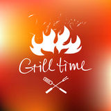 Vector lettering hand drawn logo with red fire background. Stock Photography