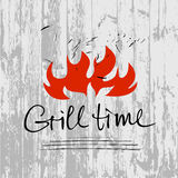 Vector lettering hand drawn logotype with fire on gray wood  bac. Kground. Illustration for grill time party.  Logo for restaurant and cafe Stock Images