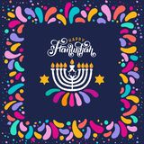 Vector lettering text Happy Hanukkah. Jewish Festival of Lights celebration, festive frame, menorah, David Star,candle. Vector lettering hand written text vector illustration