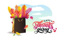 Vector Lettering handwritten text Happy Thanksgiving. Bright bouquet of autumn fallen leaves in gold gift shopping bag. royalty free illustration