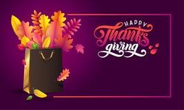 Vector Lettering handwritten text Happy Thanksgiving. Bright bouquet of autumn fallen leaves in golden gift shopping bag vector illustration