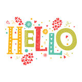 Vector lettering Hello. With decorative floral elements isolated on white background, hand drawn letters Royalty Free Stock Photo