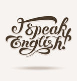 Vector lettering with I speak english phrase. Vector shapes for lettering with I speak english phrase Stock Photography