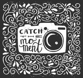 Vector lettering illustration with camera. Vector illustration with lettering Catch the moment. White photo camera silhouette, hand written phrase and doodle Stock Photos