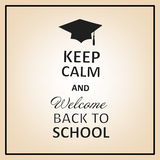 Vector lettering inscription keep calm and welcome back to school Royalty Free Stock Images