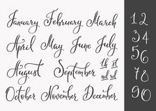 Vector Lettering months names set Stock Image