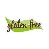 Vector lettering phrase gluten free on the green leaf shape for restaurant, cafe menu. Vector illustration, food design. Handwritten lettering phrase gluten stock illustration
