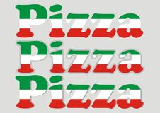 Vector lettering Pizza, three kinds of word pizza, vector icon Stock Photo