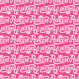 Vector lettering Princess pink. Seamless repeating pattern. Stock Image