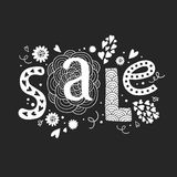 Vector lettering Sale with decorative floral Royalty Free Stock Photos