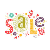 Vector lettering Sale with decorative floral. Elements isolated on white background, hand drawn letters Royalty Free Stock Photo