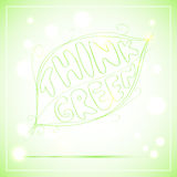 Vector lettering sketch. Think Green Stock Photos
