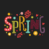 Vector lettering Spring with decorative flower. Elements on black background, hand drawn letters for greeting card, invitation and web design Stock Image
